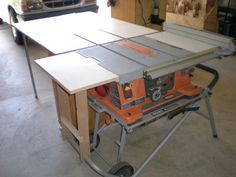 Rigid table saw outfeed got wood pinterest woodworking rigid table saw outfeed got wood pinterest woodworking portable table and shop ideas greentooth Gallery