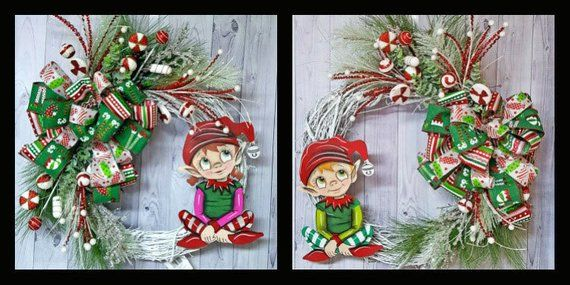 Double Door Christmas Wreaths , Elf Christmas wreaths , Double Door Wreaths , Holiday Double Door Wreaths , Elf Decor #doubledoorwreaths