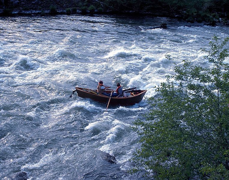 A drift boat also called a mckenzie river dory at for Drift boat fishing