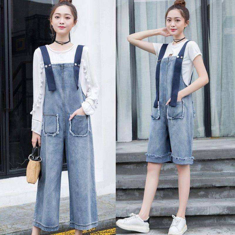 Selowin Denim Overalls Adjustable Strap Jeans Jumpsuit for Women Khaki L