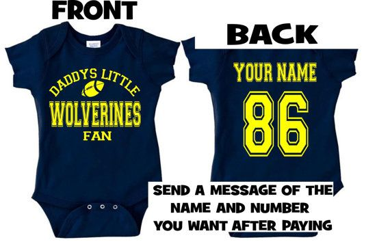 1e1b8773a y nvy DADDYS mommys wolverines fan baby infant toddler onesie t-shirt  personalized michigan custom jersey clothes bodysuit creeper gear