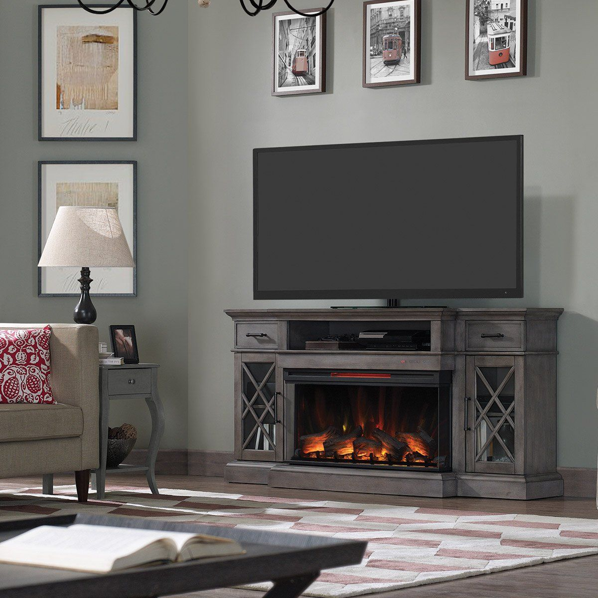 70 Inch Weathered Gray Fireplace Tv Stand Hamilton In 2020