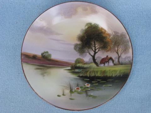 antique-handpainted-Nippon-china-plate-vintage-cottage-on-lake-scene ...