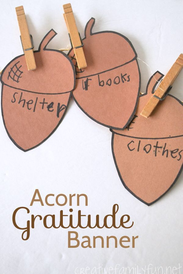 Acorn Gratitude Banner Craft For Kids Creative Family Fun Thanksgiving Activities For Kids Gratitude Crafts Thankful Crafts