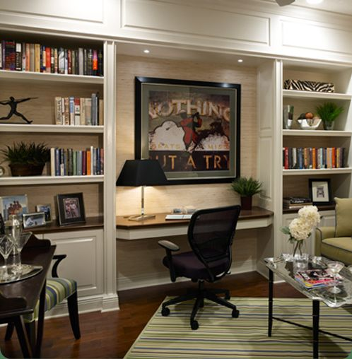 20 Home Office Bookshelves Designs Ideas: Great Built In Shelving & Desk Nook. The Lighting Is The