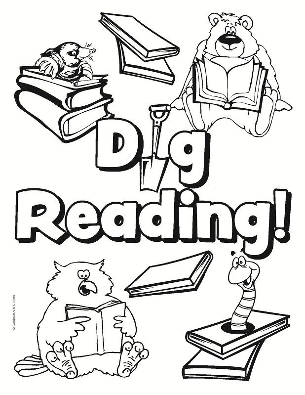 Bear In A Library Coloring Page Library Coloring