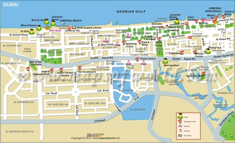 Dubai Map | So me | Pinterest | Dubai map, Dubai city and ...