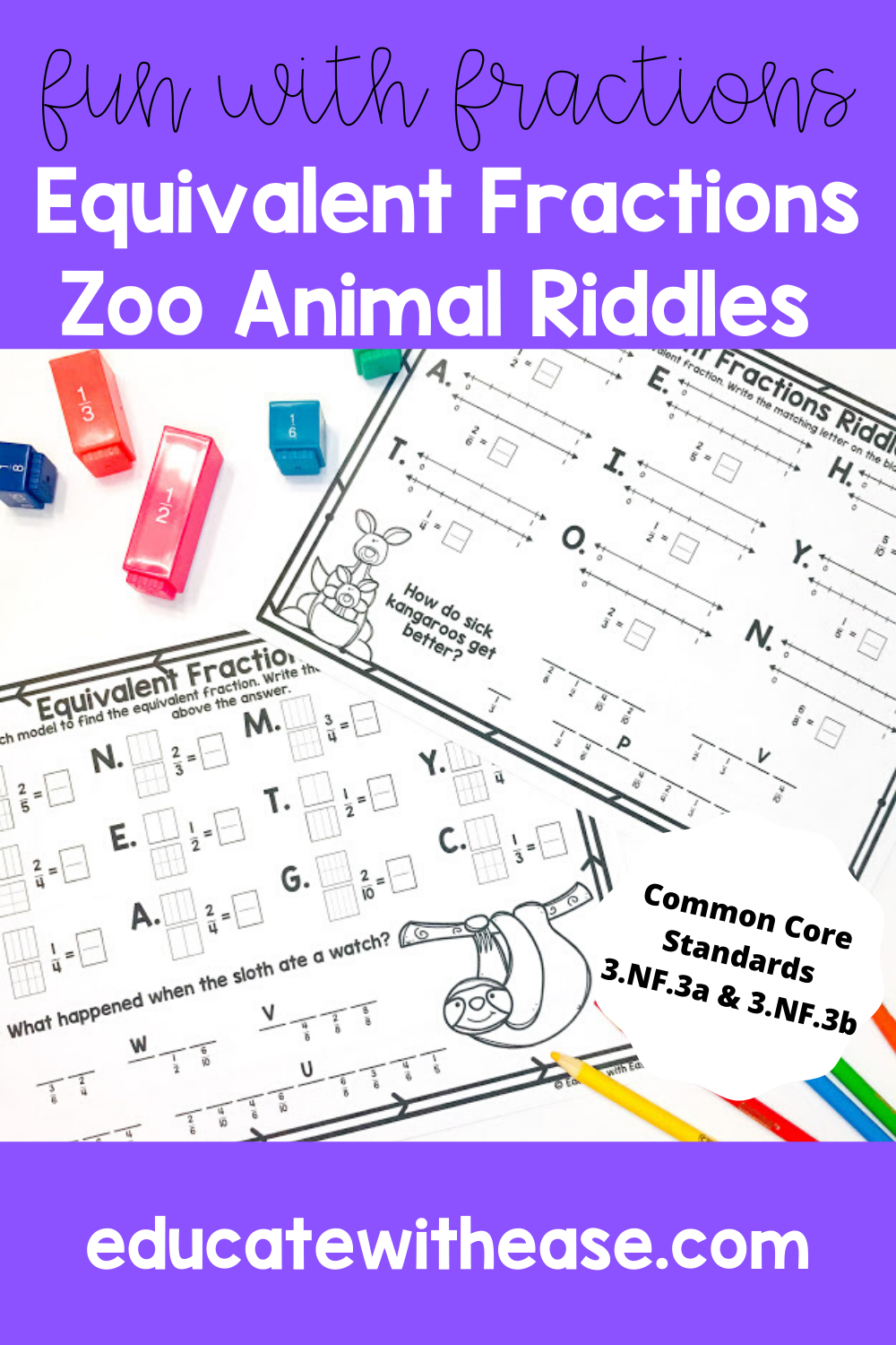 Zoo Equivalent Fractions Using Models & Number Lines