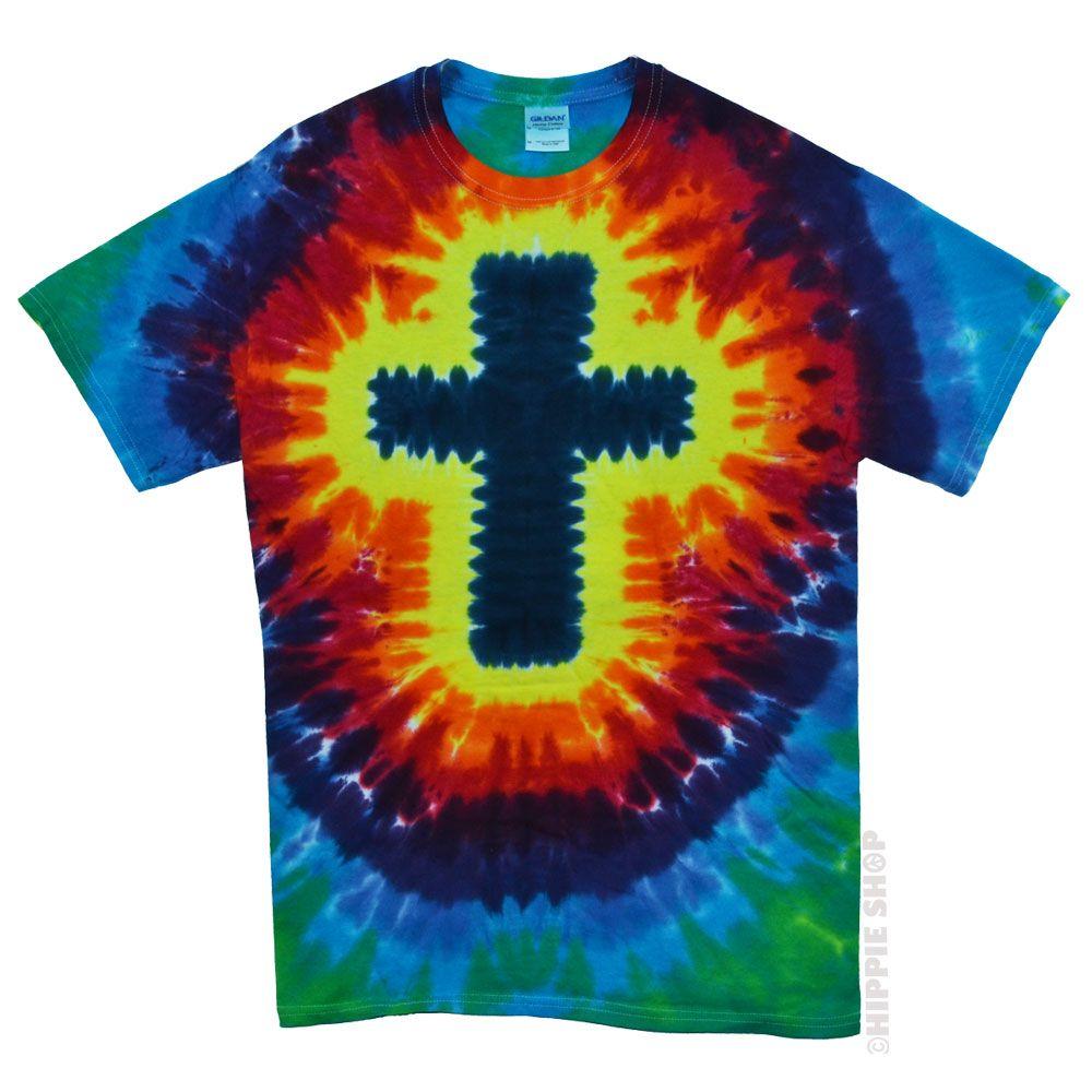 Rainbow Cross Tie Dye T Shirt