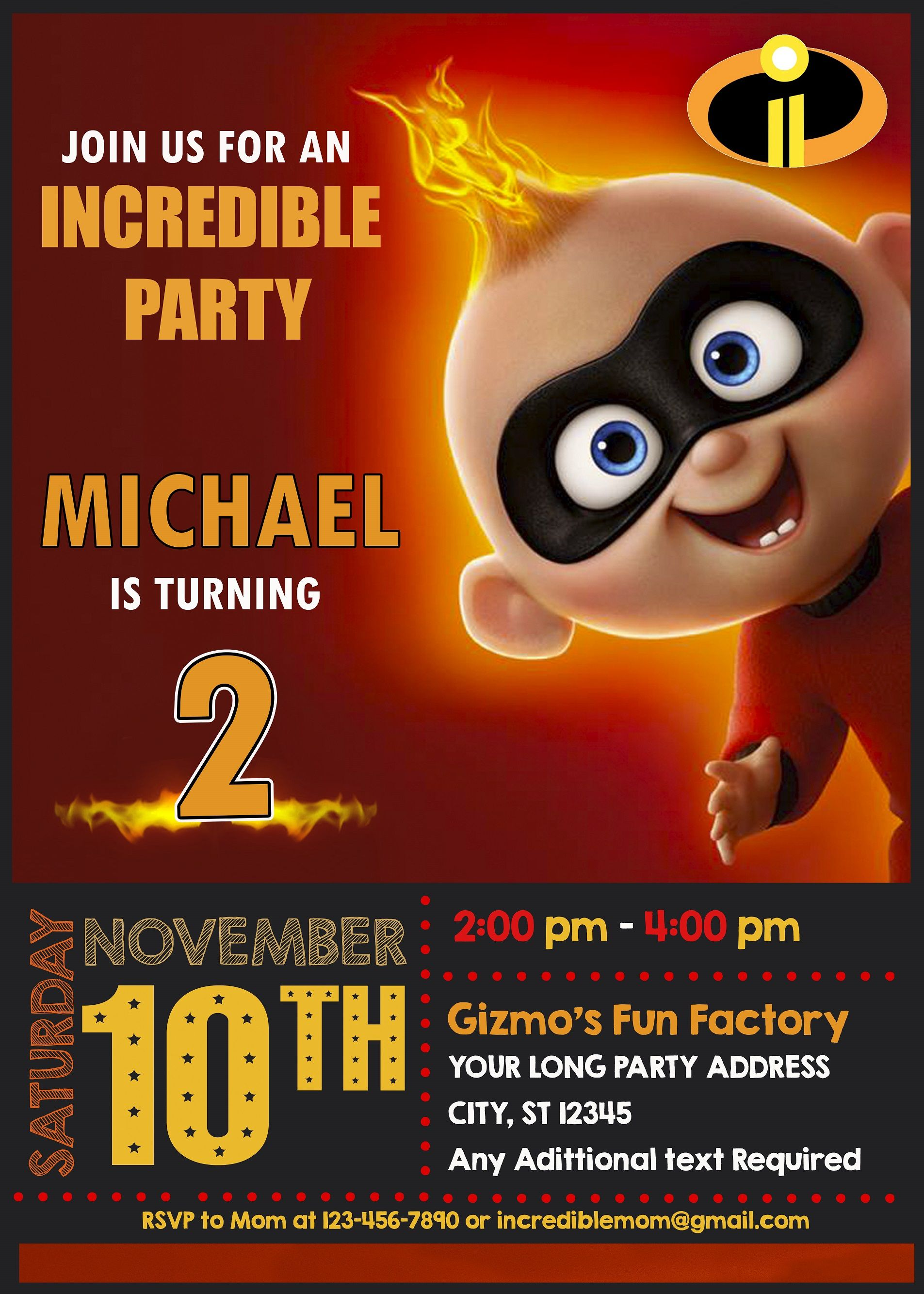 Invitations Posters Cards Personalised Incredibles Birthday Banners