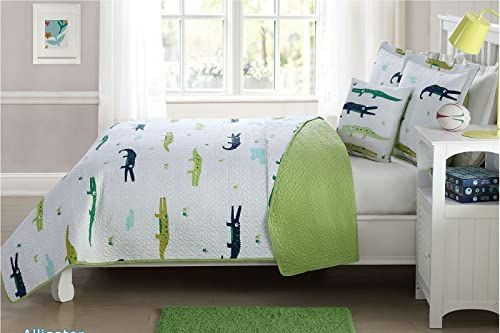Elegant Home Sports Soccer Football Basketball Baseball Design Fun Multi-Color Grey Blue 4 Piece Quilt Bedspread Bedding Set with Decorative Pillow for Kids//Boys # Super Star Full