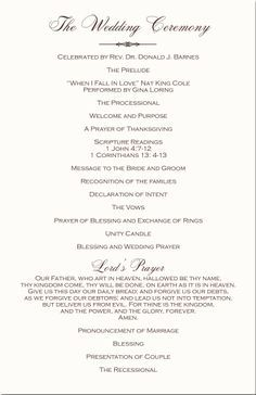 Wedding Programs Ceremony