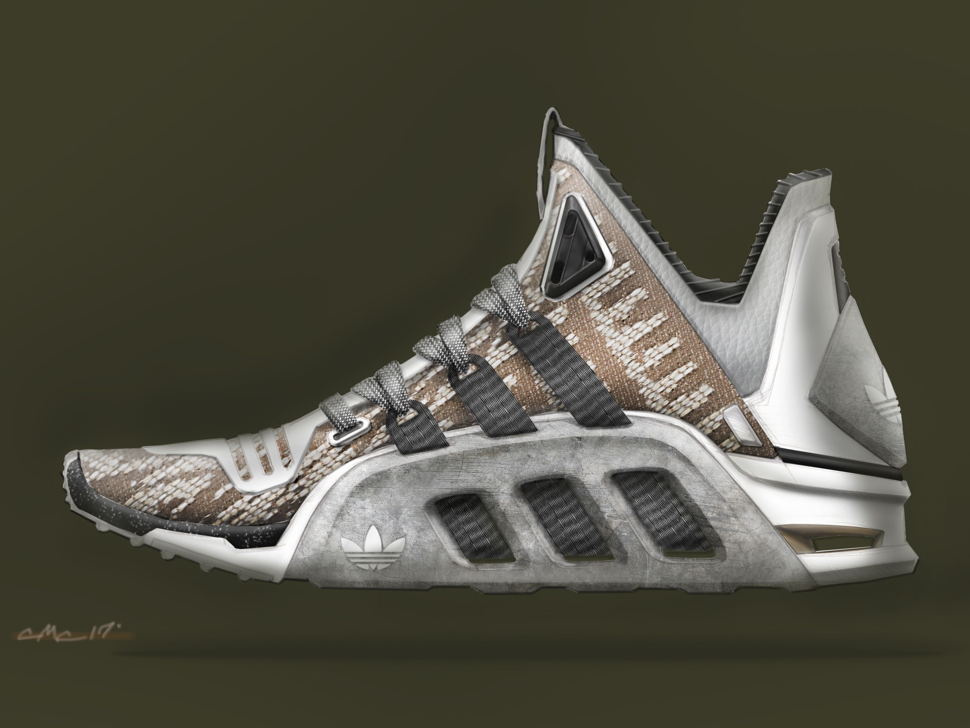 Photoshop rendering of my latest Adidas trainer design