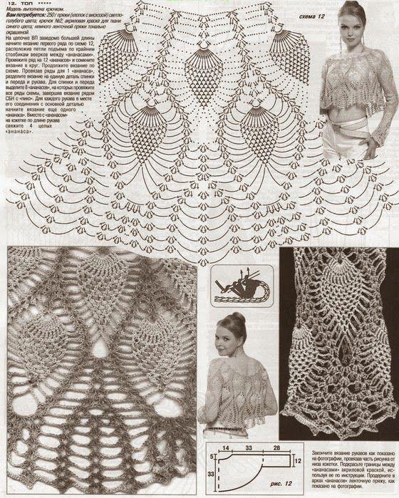 Patrones de fino bolero punto piña al crochet | crochet | Pinterest ...