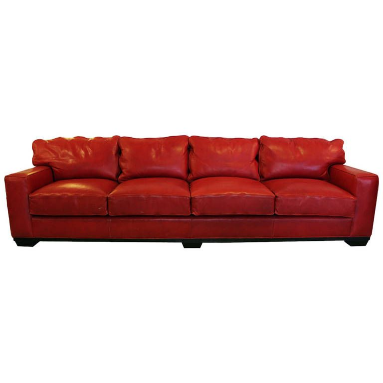 foot red leather sofa by swaim