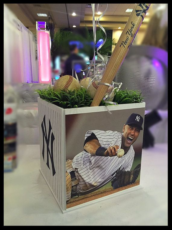 Bar mitzvah sports centerpiece any sport teams by thepartyplaceli fun four way designed box a different custom graphic on each side this centerpiece is perfect for any type of party pick any sports theme or junglespirit Images