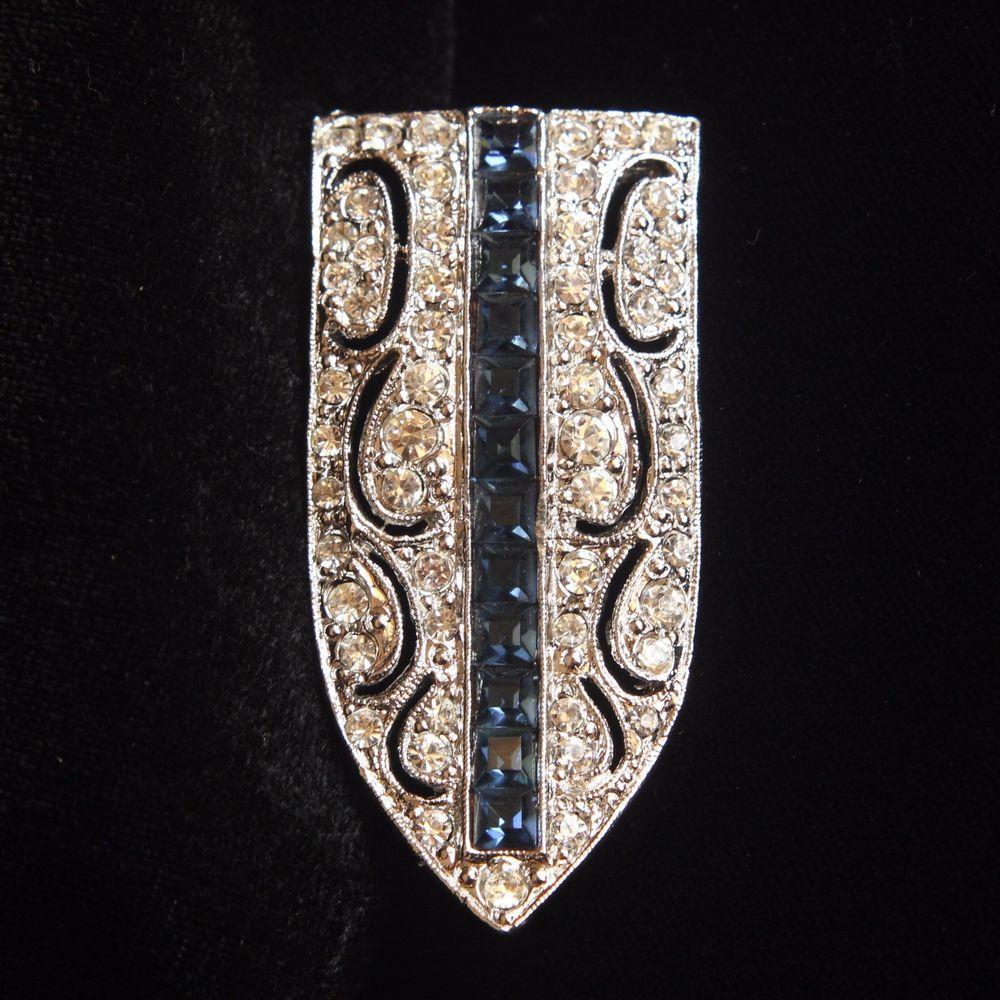 Vintage Art Deco Style Kenneth Lane Rhodium Plated Rhinestone Dress Clip Brooch #KennethJayLane