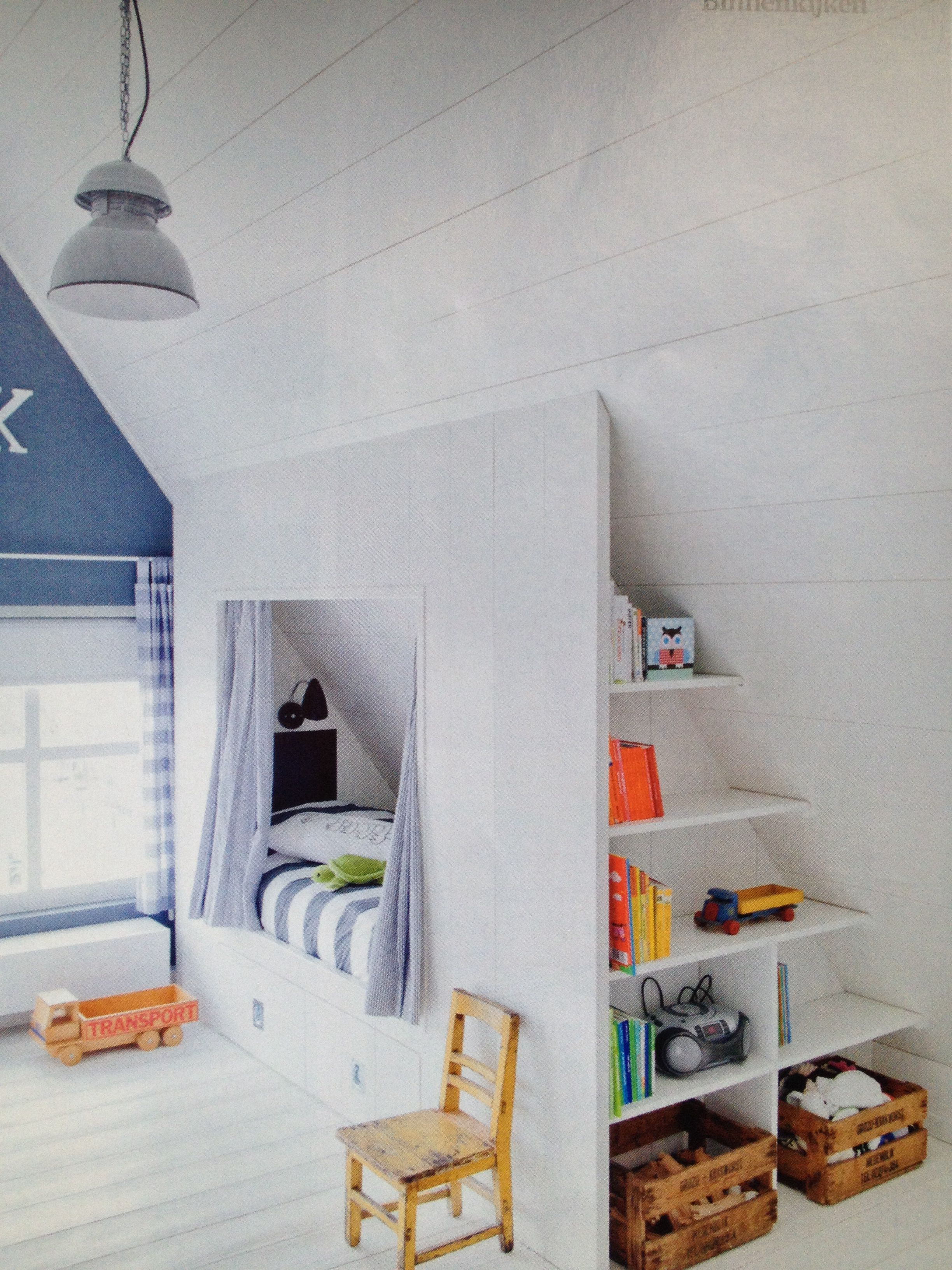 Photo of Attic room. Boys. Box bed. White and blue