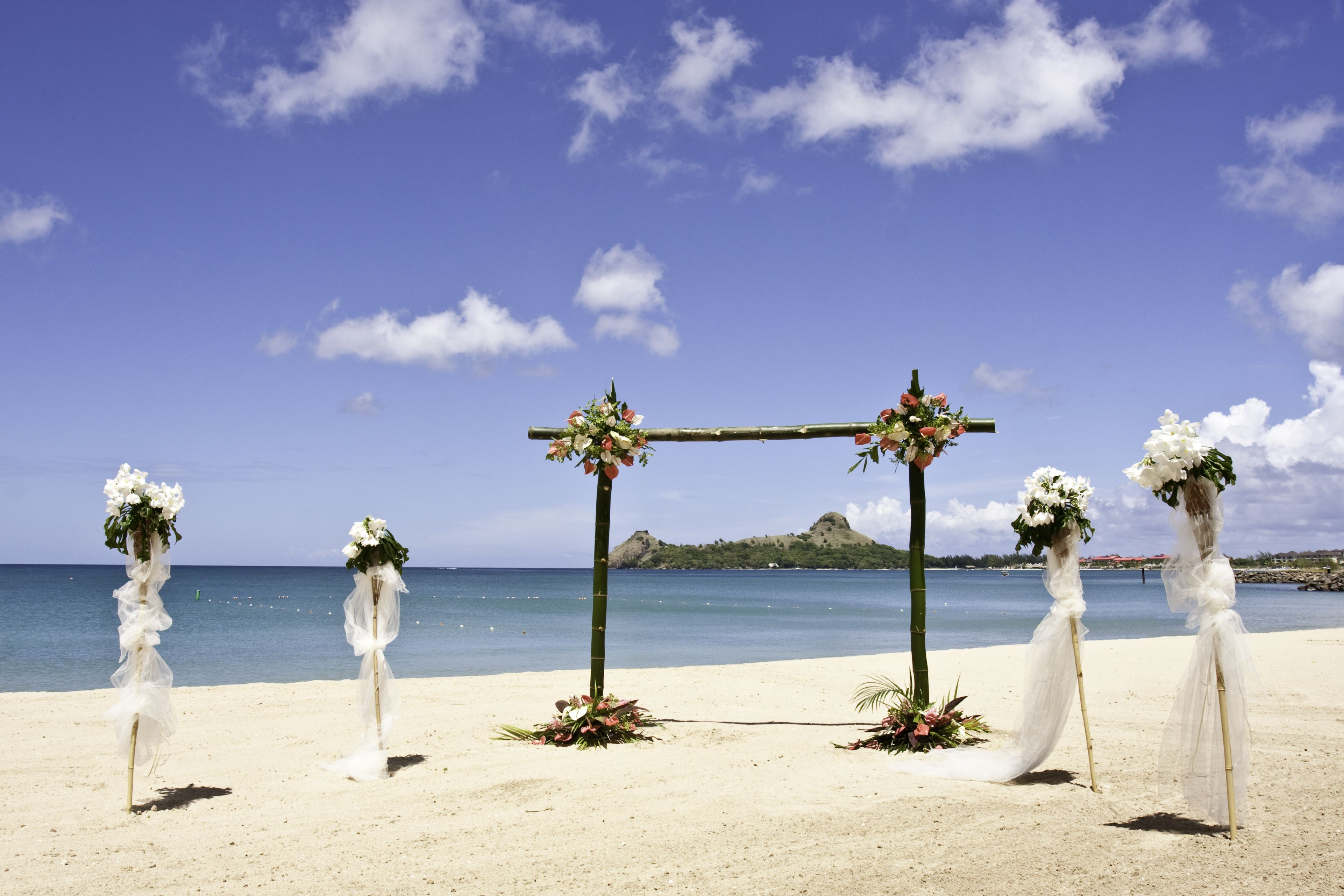 Beach Wedding Set Up At The Bay Gardens Beach Resort U0026 Spa In Saint Lucia