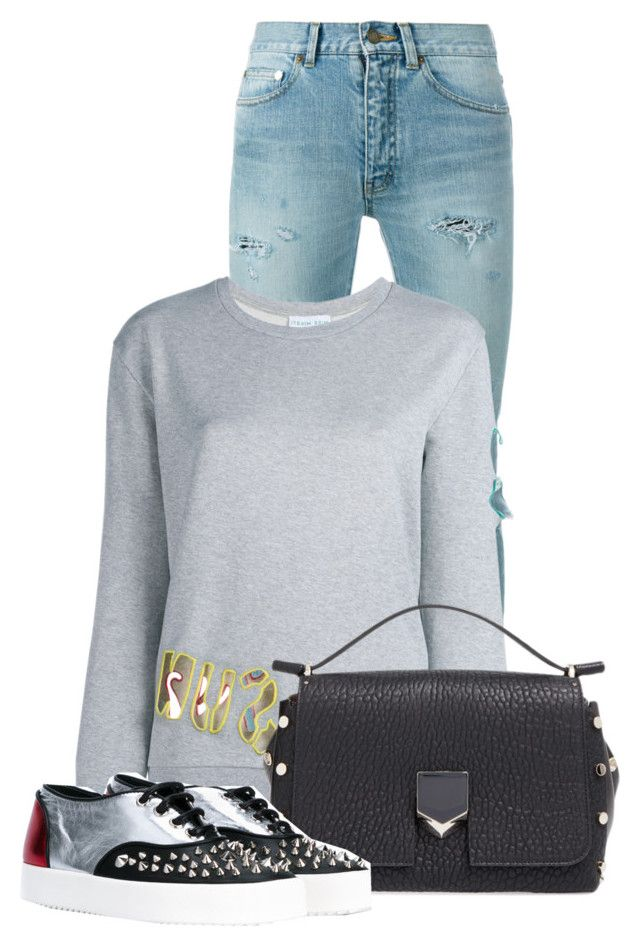 """""""Untitled #16764"""" by nanette-253 ❤ liked on Polyvore featuring Yves Saint Laurent, Mira Mikati, Jimmy Choo and Giuseppe Zanotti"""