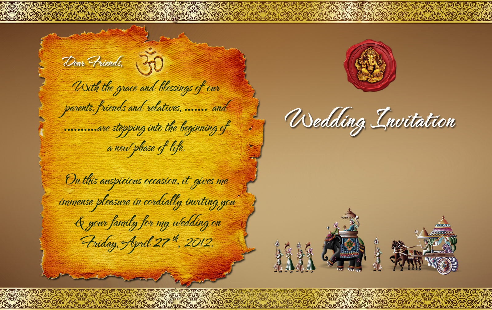Indian Wedding Card Design Psd Files Free Photo Template Marriage Invitation