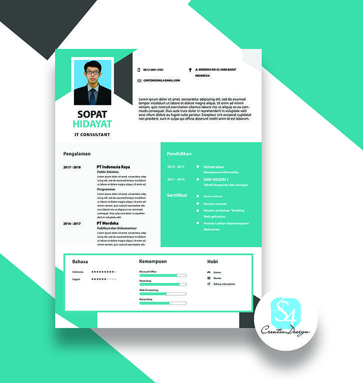 Resumecv Design Template With Green Color Create Creative And
