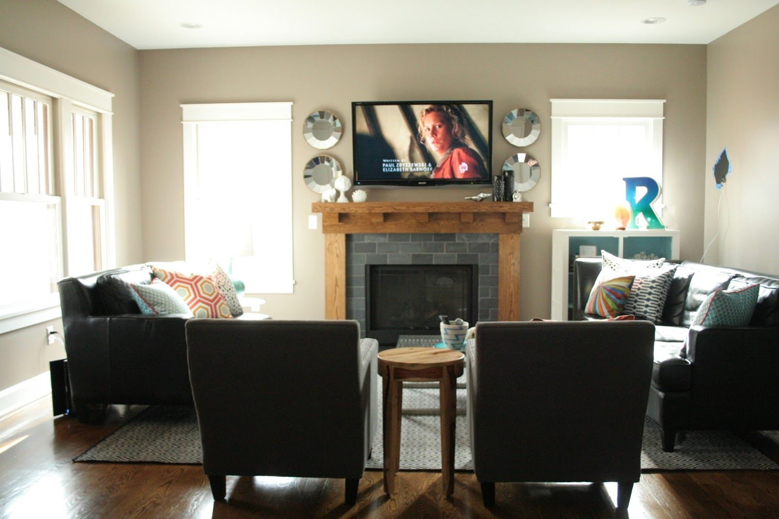 living room furniture arrangement with fireplace - Google ... on Small Space Small Living Room With Fireplace  id=48827