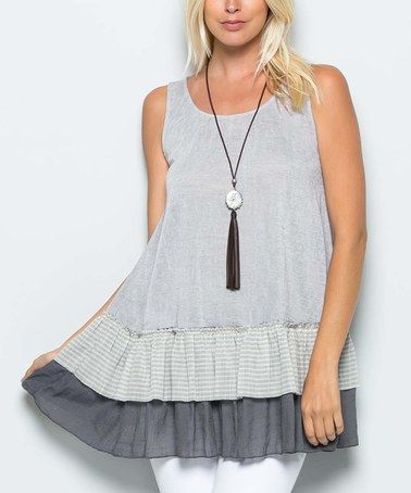 Another great find on #zulily! Light Gray Stripe Tiered Scoop Neck Tunic #zulilyfinds