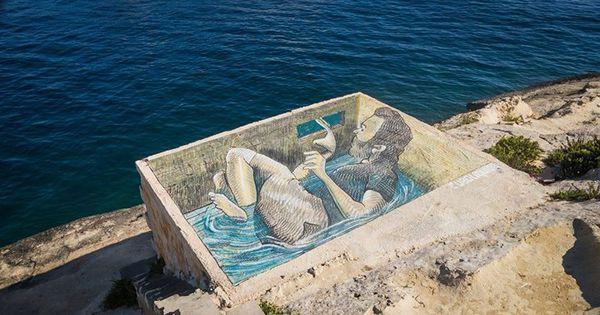 Tony C in Sliema Malta. - Discover more Street Art at www.UrbanArtNow.com - #StreetArt #UrbanArt #Graffiti #Mural