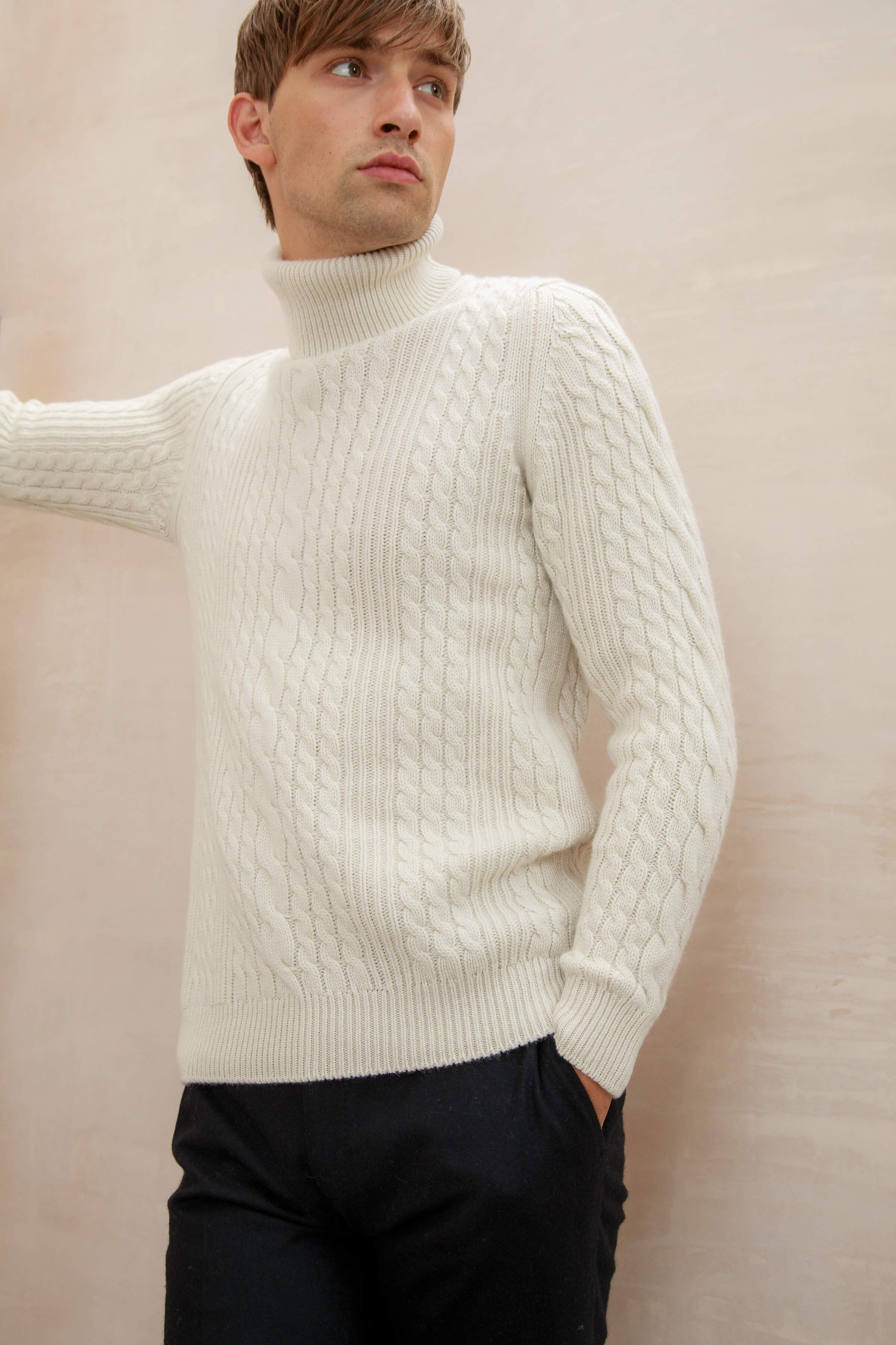 1fa1ac20925898 Aran cable and rib cashmere jumper in antique white #aw18 | Pyssel ...