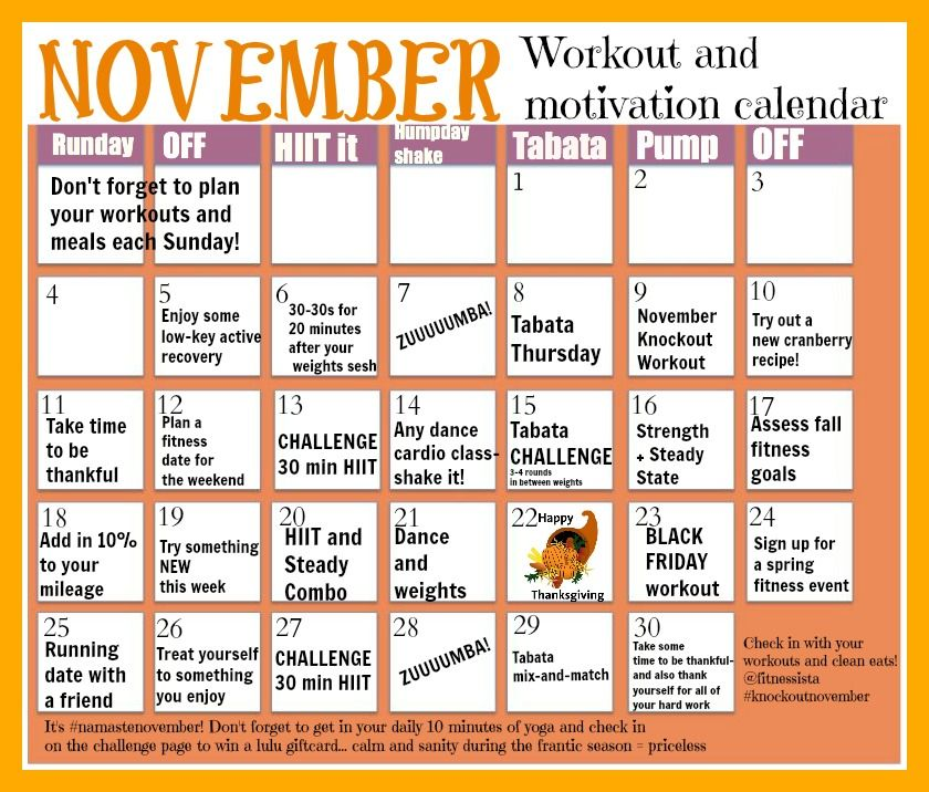 November Workout calendar fit Pinterest Workout calendar