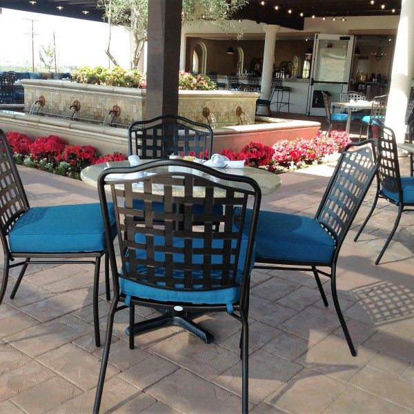 Wrought Iron Chairs With Custom Cushions At Avensole Winery In Temecula, CA