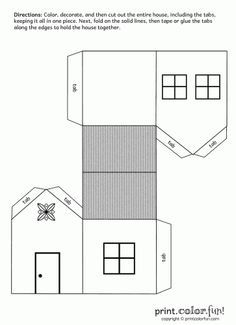 House cutout craft to print & assemble coloring page