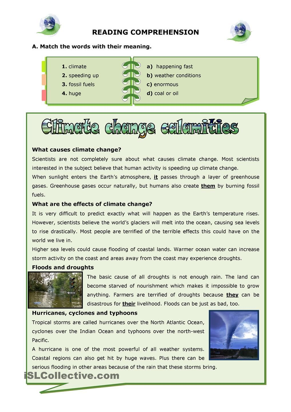 Worksheets Climate Worksheet climate change calamities reading pinterest calamities