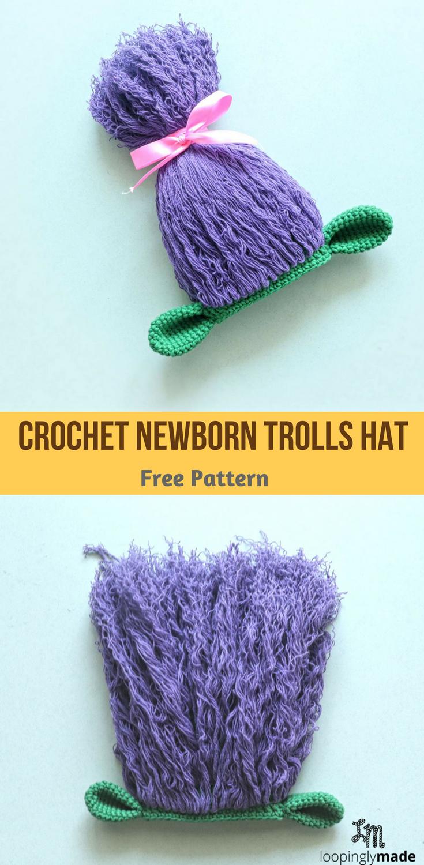 Crochet Newborn Trolls Hat Free Pattern Loopinglymadecrochet