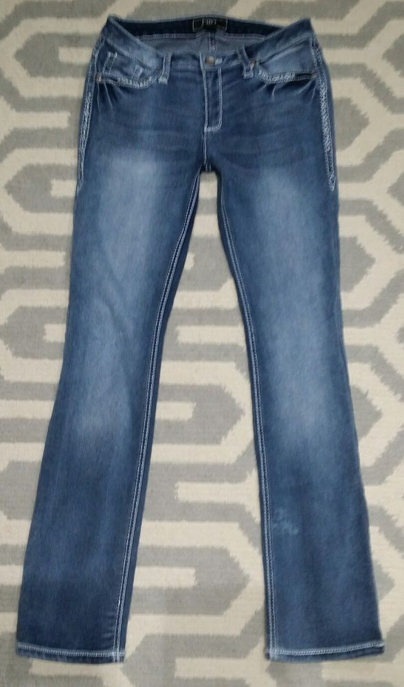 9a5375236b9 Womens Cato Jeans size 8 Thick Stitch Stretch Slim Boot READ flap back  pockets