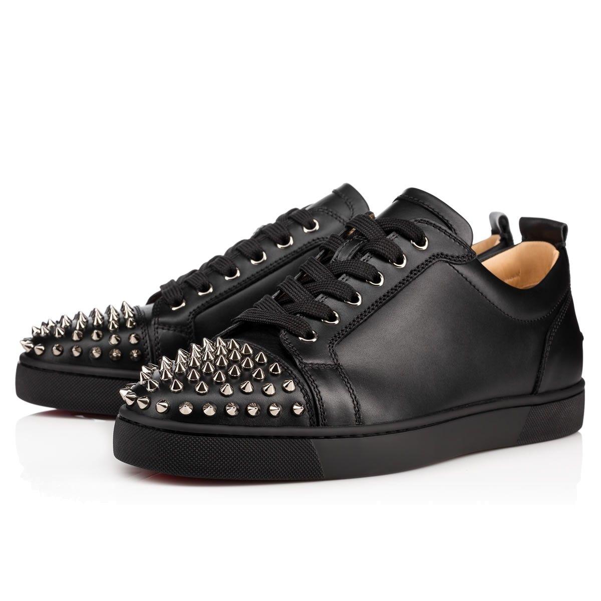 Louis Junior Spikes Flat Black/Gun Calf - Men Shoes - Christian Louboutin