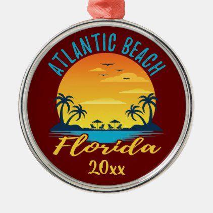 Atlantic Beach Florida Palm Trees Sunset Metal Ornament ...
