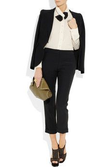 alexander mcqueen cropped crepe straight-leg pants