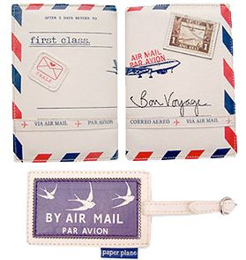 Air Mail Passport Cover and Luggage Tags, approx.$29 US Cloth Ears