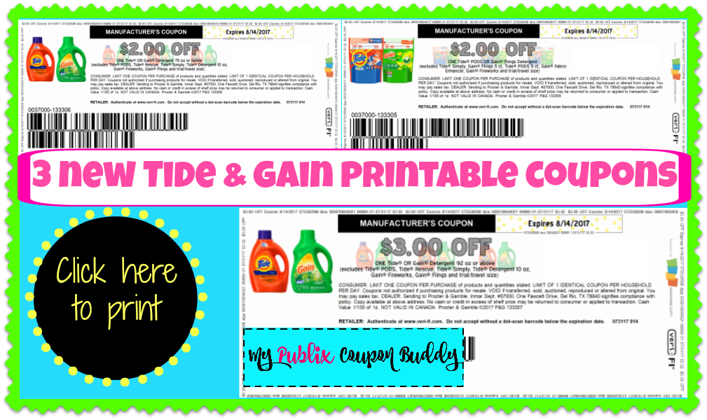 picture relating to Gain Printable Coupons called 3 fresh new tide profit printable coupon codes! my publix coupon