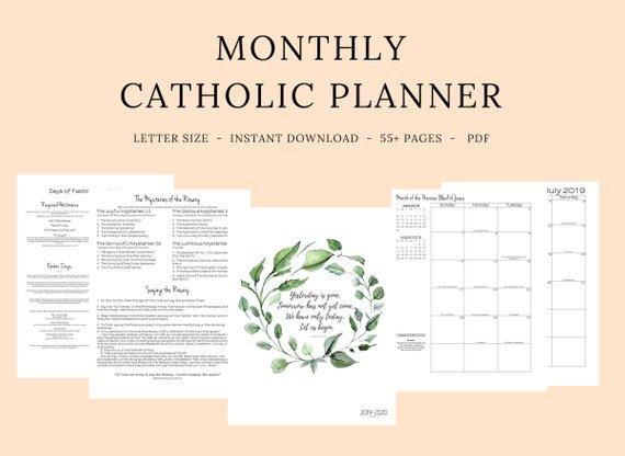 Roman Catholic Calendar 2020 2019   2020 Catholic Planner Monthly Printable: Monthly Planner