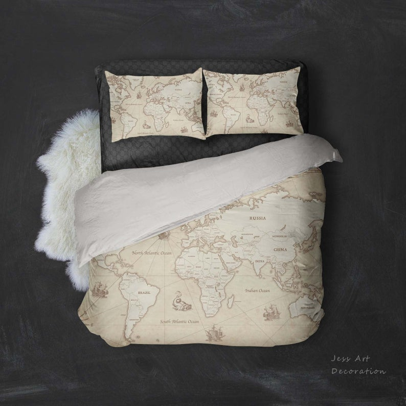 3d Vintage World Map Bedding Set Quilt Cover Quilt Duvet Etsy In 2020 Quilted Duvet Map Bedding Quilt Cover