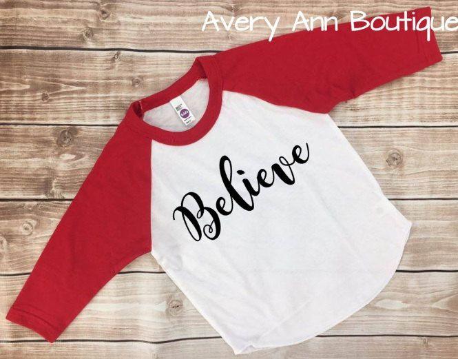 7ca8c381c5b6e Believe Polar Express Kids T-Shirt Raglan Shirt Kids Raglan Kid ...