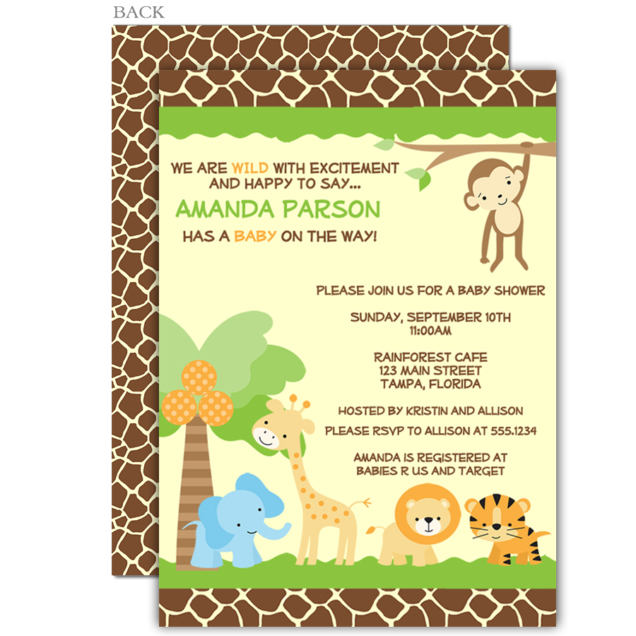 Jungle Safari Baby Shower Invitation | Gender neutral baby ...
