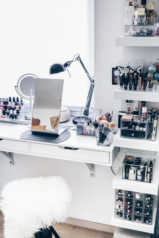 meine neue schminkecke inklusive praktischer kosmetikaufbewahrung beauty station pinterest. Black Bedroom Furniture Sets. Home Design Ideas