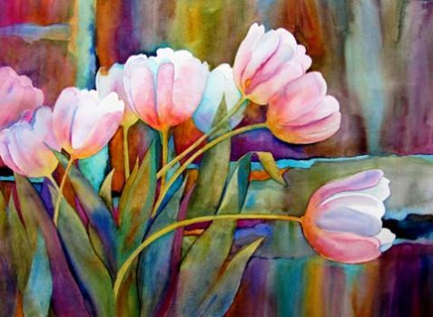 White Tulips 48 Pieces Avec Images Peinture Fleurs Dessin