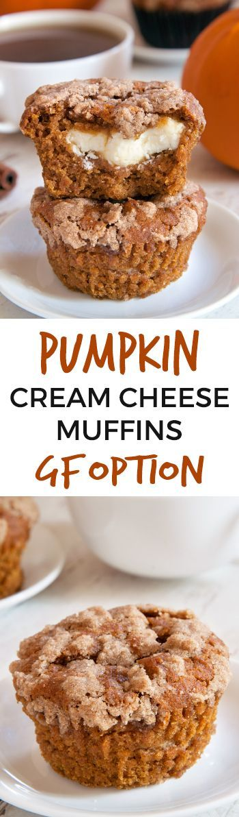 Pumpkin Cream Cheese Muffins – incredibly moist with a generous amount of filling! With gluten-free, whole grain and all-purpose flour options. Made with @bobsredmill.