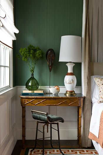 Guest Room Striated Emerald Green Wallpaper In A Bedroom You Dont Always Have To Use Night Stand Next The Bed Photo By Gilles Trillard