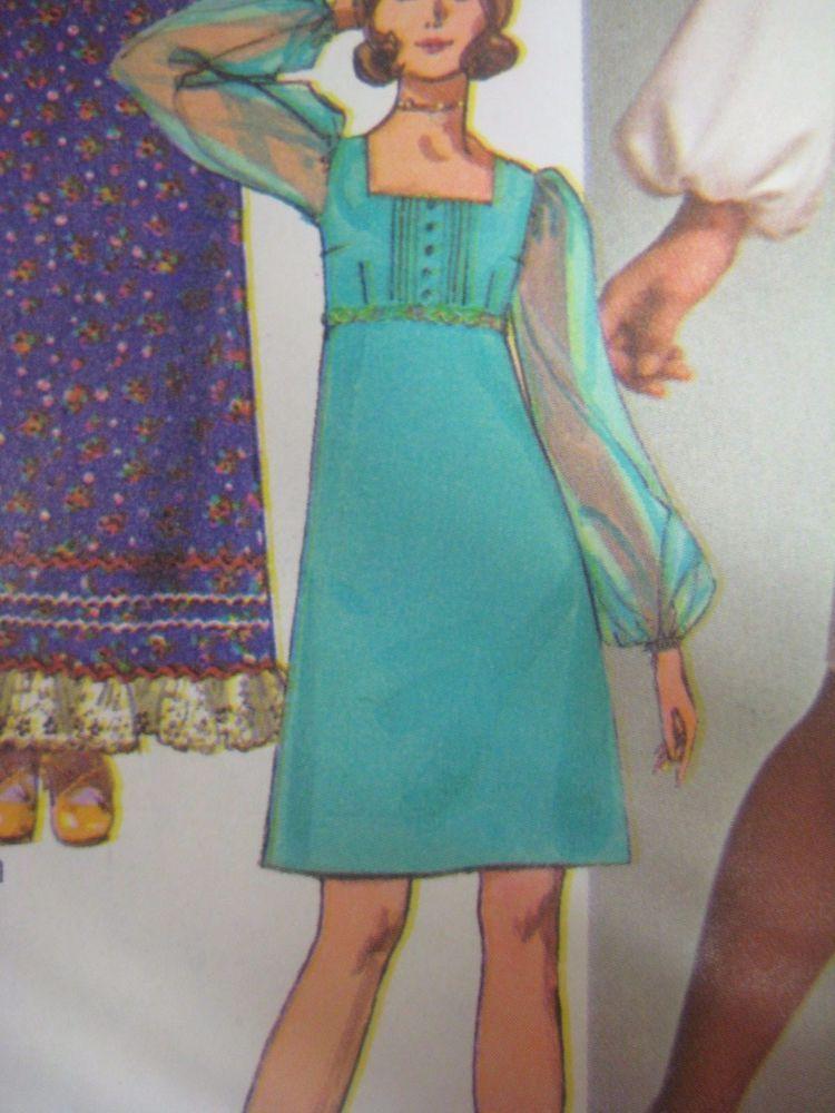 Details about vtg 70s simplicity 9078 square neck dress w